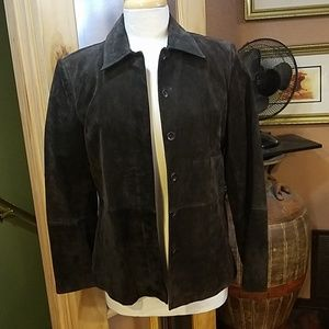 Brown chocolate genuine sued leather jacket